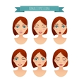 set of women faces with different expressions vector image vector image