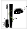 Ink for eyelashes with ornament and eye vector image