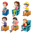 Kids sitting vector image