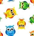 Seamless cartoon owls vector image