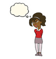 cartoon pretty girl tilting head with thought vector image