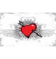 heart with floral wings and grunge vector image vector image
