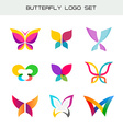 Butterfly colorful logo set Vivid colors butterfly vector image