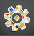 cog icon colorful squares inside gear symbol vector image