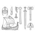 set viking knife drakkar axe helmet sword vector image