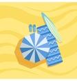 Surfboard Flip-Flops And Umbrella Spot On The vector image