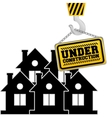 under construction chain sign hanging crane vector image
