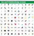 100 antiterrorism icons set cartoon style vector image