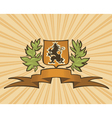brown shield with lion vector image vector image