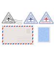 envelope stamp and triangle postmarks postal set vector image