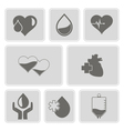 monochrome set with Charity and donation icons vector image