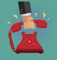 picking up the vintage retro telephone ringing vector image
