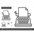 Vintage typewriter line icon vector image vector image