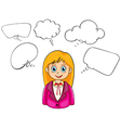 A smiling young lady with many empty callouts vector image vector image
