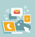communications and work at night vector image