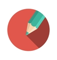 Flat Design Concept Pencil With Long Shadow vector image