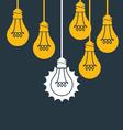Unique idea - hanging light bulb think different vector image