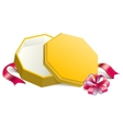 Gift yellow open box tied with bow vector image vector image