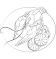 Crayfish with slices of lemon and salad outline vector image