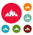alp icons circle set vector image