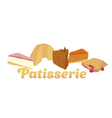assorted cakes in simple flat style vector image