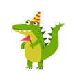 cute cartoon crocodile character wearing party hat vector image