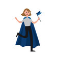 smiling sports fan girl wearing blue cape vector image