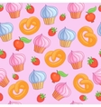 Sweet pattern cakes on pink background Seamless vector image