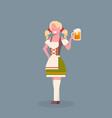 woman hold beer mug wearing traditional german vector image