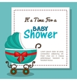 baby shower invitation card with carriage blue vector image