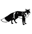 standing fox black and white image vector image