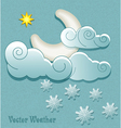 Moon in the clouds with stars and snowflakes vector image vector image
