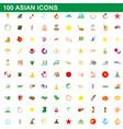 100 asian icons set cartoon style vector image