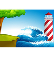 Strong waves near the lighthouse vector image vector image
