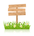 wooden signboard for guidepost with field green vector image vector image
