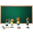 Children painting on the blackboard vector image