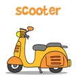 Cartoon of scooter with hand draw vector image