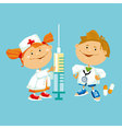 kid play doctor in white robe vector image