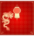 red background with chinese lanterns and dragon vector image
