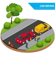 Roadside assistance car Man changing wheel on a vector image