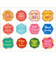 Set of retro promotion discount sale label vector image