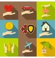 Insurance icons set flat style vector image