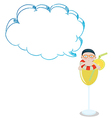 A young boy inside a glass with an empty cloud vector image vector image