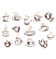 Set of doodle sketch coffee icons vector image vector image