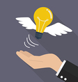 Hand with lightbulb fly vector image