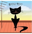Cute black cat on the roof vector image