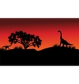 At morning silhouette eoraptor and brachiosaurus vector image