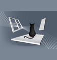 cat sitting abstract vector image