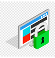 computer monitor and padlock isometric icon vector image