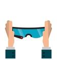 hands holding modern frame glasses icon vector image